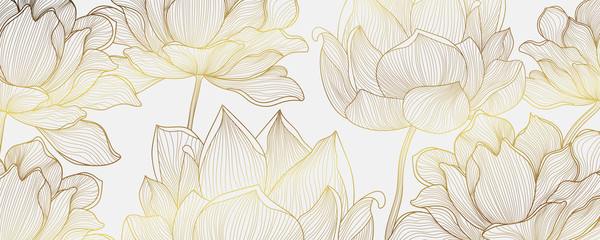 Obraz Luxury Gold wallpaper design with Golden lotus and natural background. Lotus line arts design for fabric, prints and background texture, Vector illustration. - fototapety do salonu