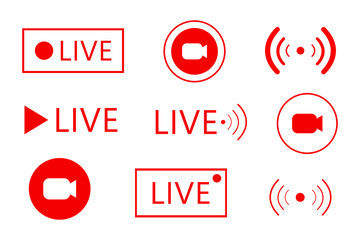 Set of live streaming icons. Set of Live broadcasting icons. Button, red symbols for news, TV, movies, shows