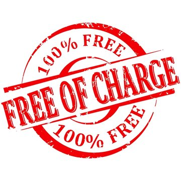 Damaged red round stamp with the words free charge 100% free
