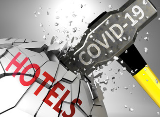 Hotels and Covid-19 virus, symbolized by virus destroying word Hotels to picture that coronavirus affects Hotels and leads to crisis and  recession, 3d illustration
