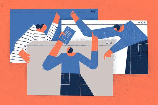 Staff illustrated working from home during coronavirus quarantine. Teleworking concept.