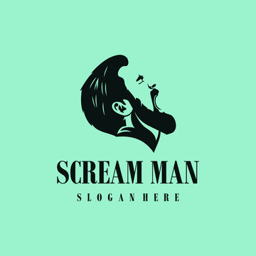 Scream man logo design. Awesome scream man logo. A scream man logotype.