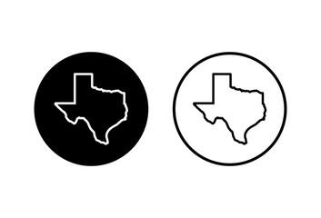 Texas map icons set on white background. Texas map icon. Texas symbol.