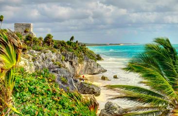 Foto auf Gartenposter Rosa dunkel Tulum, Quintana Roo, Mexico : Mayan Ruins, HDR Image