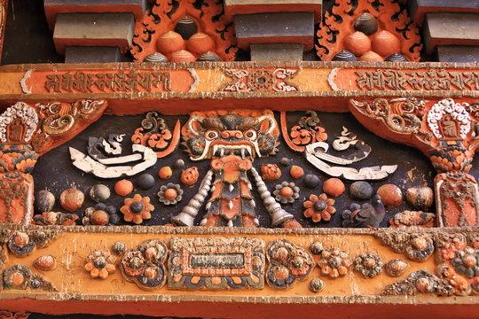 Decoration of monastery facade in Bhutan