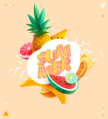 Summer poster with seasonal fruits