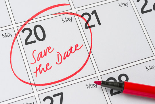 Save the Date written on a calendar - May 20