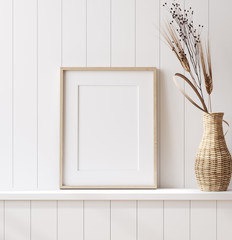 Wall Mural - Mockup poster frame close up in coastal style home interior, 3d render