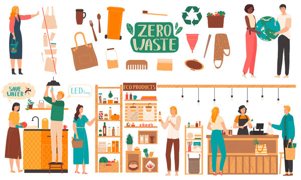 Zero waste lifestyle, environment friendly products, vector illustration. Reduce, reuse and recycle concept. People in eco shop, isolated items from natural materials, zero waste store, no plastic