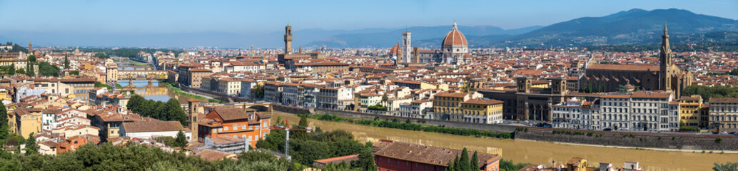Sunny day time aerial panorama of old city of Florence