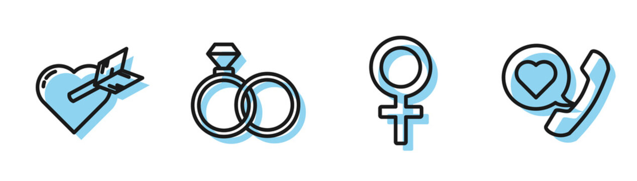 Set line Female gender symbol, Amour with heart and arrow, Wedding rings and Telephone with heart speech bubble icon. Vector