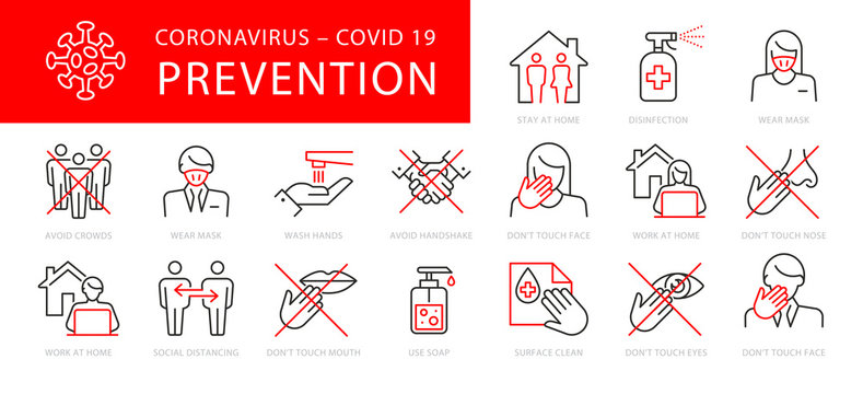 Coronavirus Prevention Vector Illustration Set
