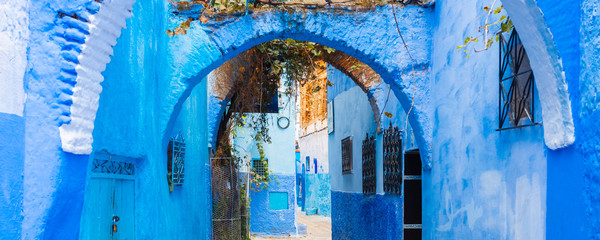 View of the street of the blue town Chefchaouen, Morocco.
