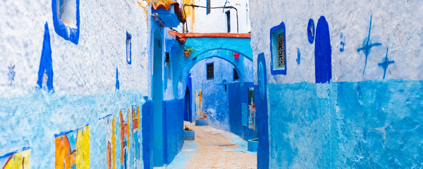 Poster Maroc Panorama view from the street of the blue town Chefchaouen, Morocco.