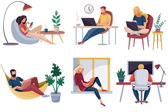 set of people who work at home, in the office, they are sitting in a chair on a chair and at the window, isolated object on a white background, vector illustration, eps