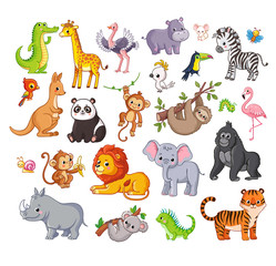 Big vector set with animals in cartoon style. Vector collection with mammals