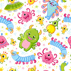 Funny pattern with aliens. Vector seamless illustration with cute monsters