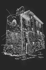Wall Mural - Vector sketch of old house in Pula, Croatia. Retro style.Print