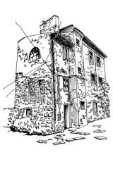 Wall Mural - Vector sketch of old house in Pula, Croatia.