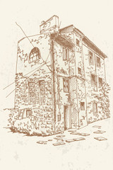 Wall Mural - Vector sketch of old house in Pula, Croatia. Retro style.
