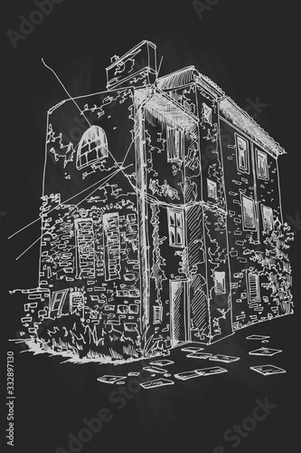 Wall mural Vector sketch of old house in Pula, Croatia. Retro style.Print