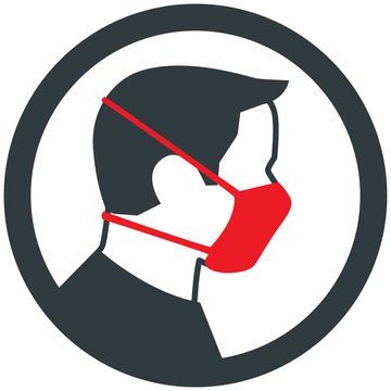 Male wearing red medical face mask. Vector icon