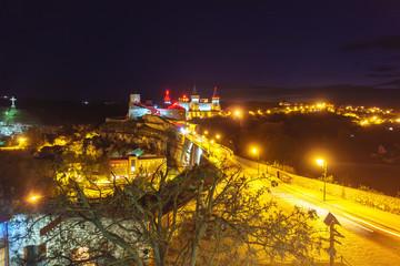 The bridge leading to the fortress in Kamenetz-Podolsk. Night shooting