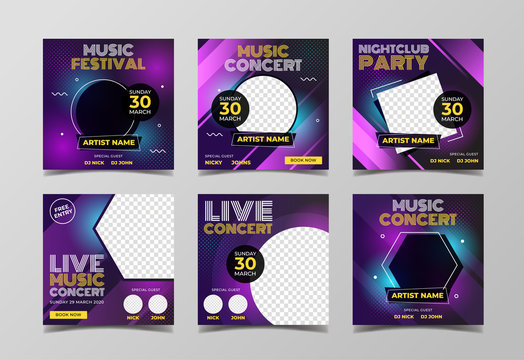 Music party banner for flyer and social media post template