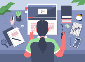 Student Learning Online at Home. Character Sitting at Desk, Looking at Laptop and Studying with Smartphone, Books and Exercise Books. Online Education Concept. Flat Cartoon Vector Illustration.