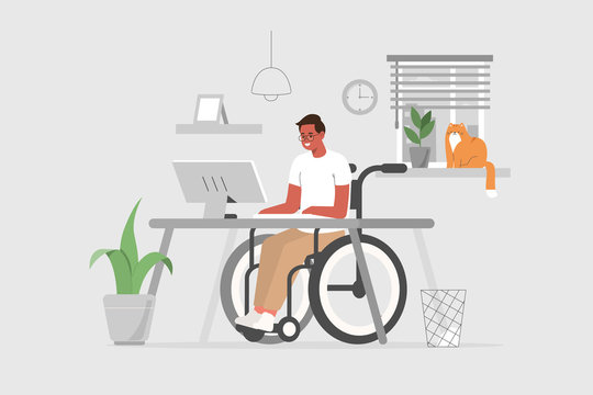 Disabled  Person in Wheelchair Working on Computer Desk in Home Office. Handicapped Business Man Character at Workplace. Disability Concept. Flat Cartoon Vector Illustration.