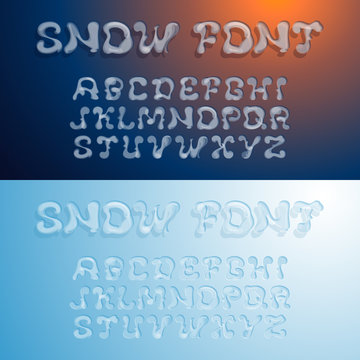 Snowy alphabet. Transparent font. Ice and snow imitation. Holiday typeface design. Vector, EPS 10