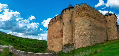 Panorama of the ancient medieval fortress in Khotyn, Ukraine