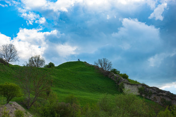 Line of defense. Watchtowers on a hill near an ancient fortress