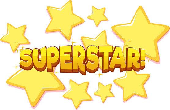 Font design for word superstar on white background