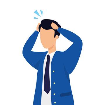 businessman worried avatar character icon vector illustration design