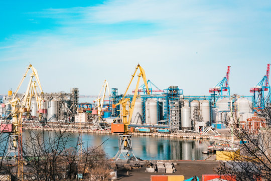 Silos and cranes in the cargo sea port. Grain dryers in the big industrial dock. Industry. Transportation. Storage. Business delivery. Work. Industry. Agriculture shipment. Busy. Money