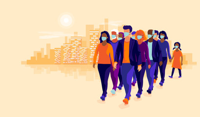 Group people wearing protection medical face mask to protect and prevent corona virus, disease, flu, air pollution, contamination. Old man woman child walking. Vector illustration sunset city skyline.