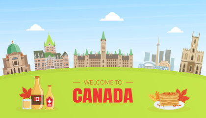 Canada Banner Template with Canadian National Cultural Symbols and Landmarks Vector Illustration