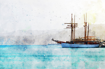 abstract watercolor style image of abstract image of the yacht at sea
