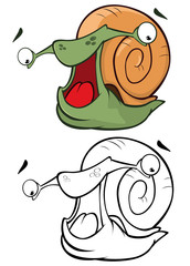 Fotorollo Babyzimmer Vector Illustration of a Cute Cartoon Character Snail for you Design and Computer Game. Coloring Book Outline Set