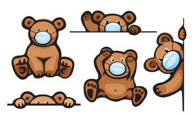 Vector   bears cartoon in mask, isolated.