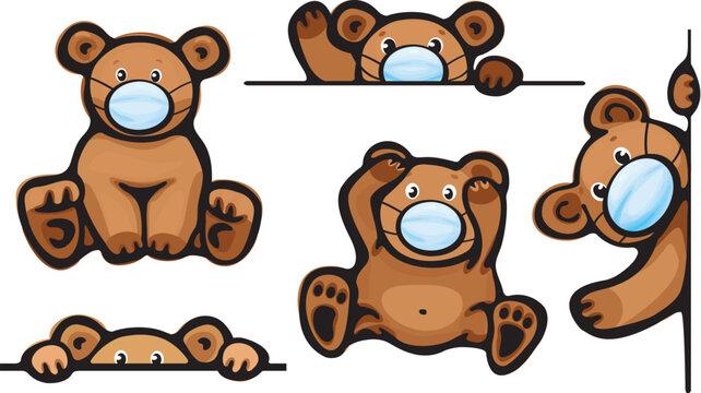 Vector   bears cartoon in mask, isolated.