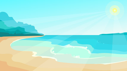 Canvas Prints Turquoise Beach on sunny day. Beautiful landscape in cartoon style.