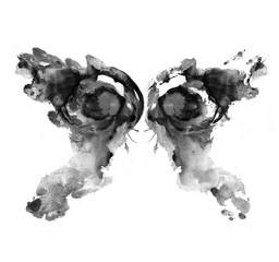 Zelfklevend Fotobehang Vlinders in Grunge Rorschach test ink blot illustration. Psychological test. Silhouette of black butterfly isolated.