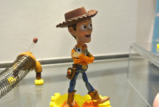 KUALA LUMPUR, MALAYSIA -MARCH 02, 2020: Selective focused on the Toy Story character action figures. Famous animated movie and tv series cartoon since 1995 produced by Disney.