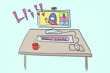 オンラインミーディング/リモートワーク/テレワーク/5Gイメージ。色塗りなし線画/ラフ絵