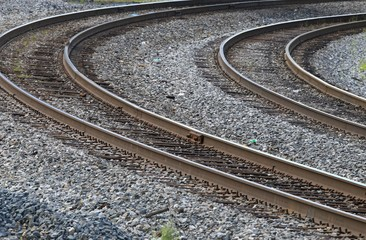 Railroad tracks on a curve