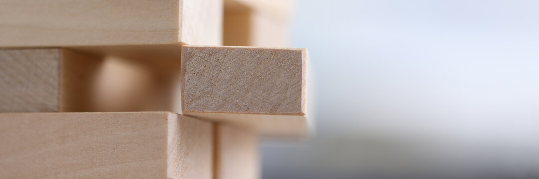 Close-up wooden blocks stacked in construction
