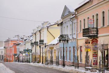 GRODNO. BELARUS. 27 JANUARY 2019 : Soviet street in Grodno. Belarus