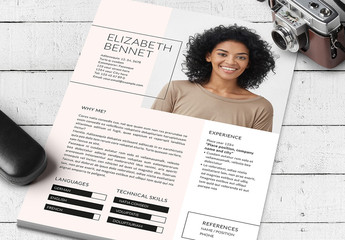 Resume Layout with Pastel Pink Accent